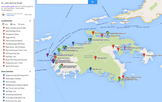 St. John Activity Map – St. John Info -USVI Island &Travel ...